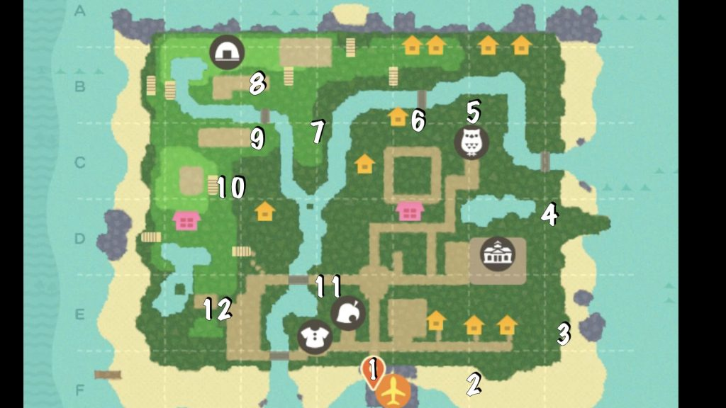 Animal Crossing Farm tour map